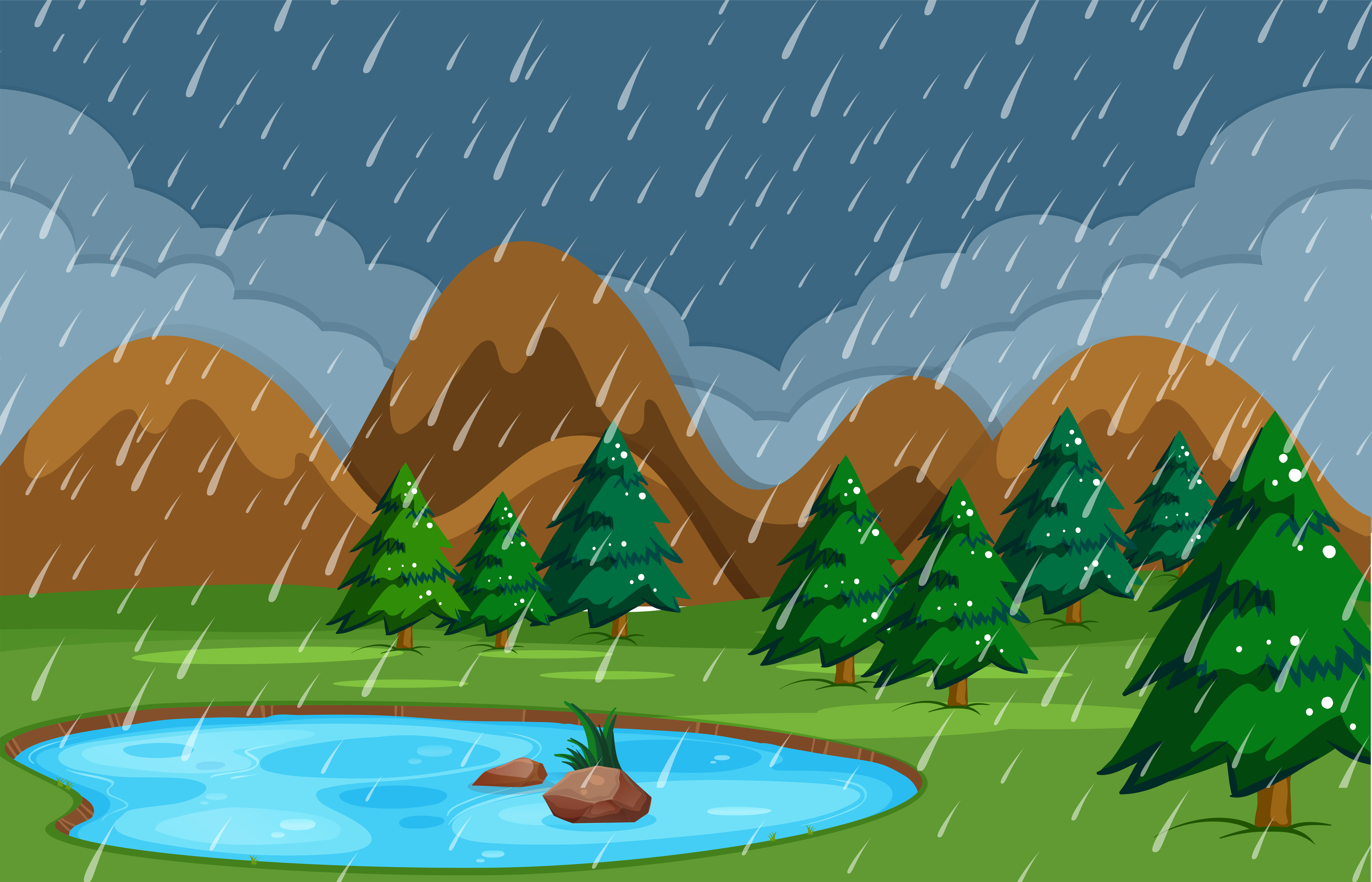 Rainy night at pond nature - Download Free Vectors ...