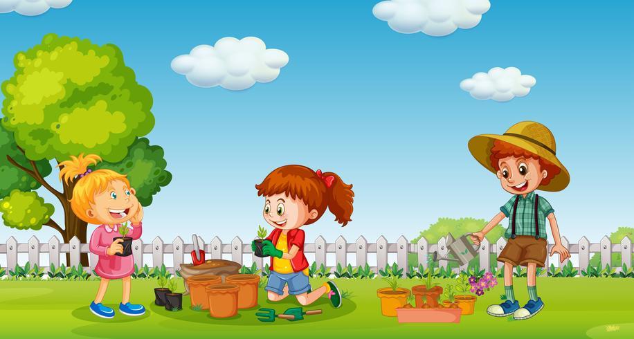 Enfants, planter, arbre, dans, pot