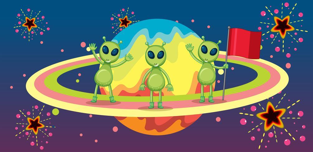 Drei Außerirdische auf einem neuen Planeten