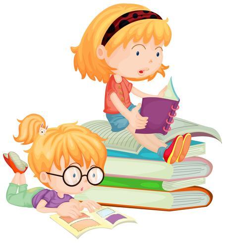 Due bambini che leggono libri a scuola