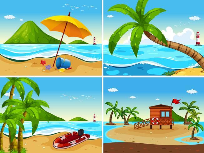 Quatro cena do oceano com casa de segurança e barco