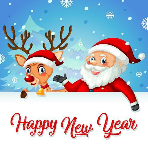 Santa et cerf sur le modèle de carte de nouvel an