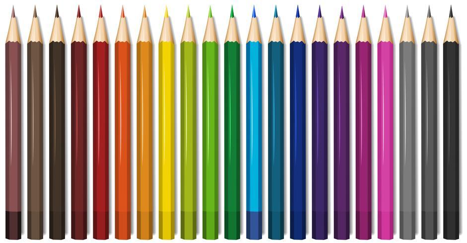 Twenty one shades of color pencils