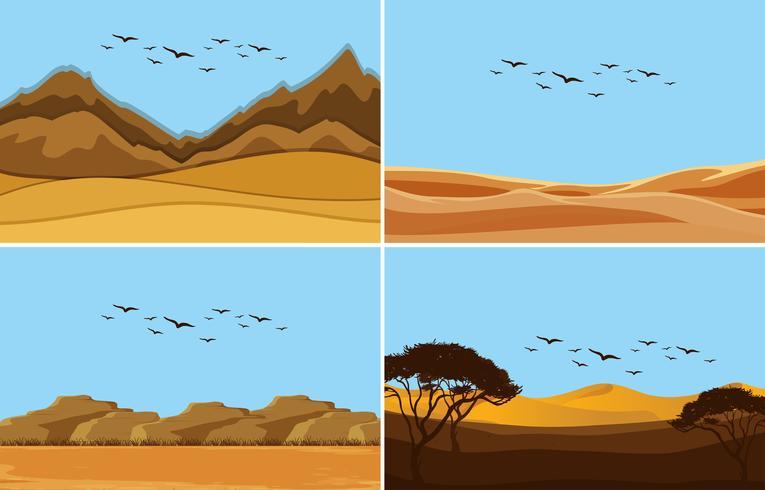 En uppsättning ökenlandskap