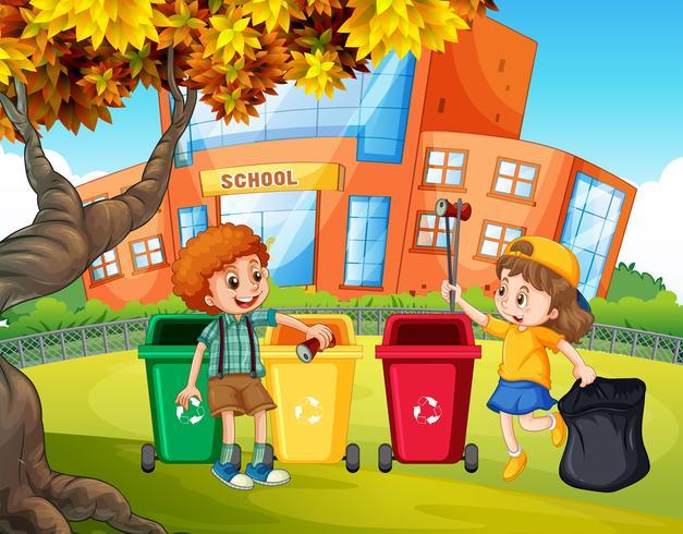 Studenti che ordinano il cestino