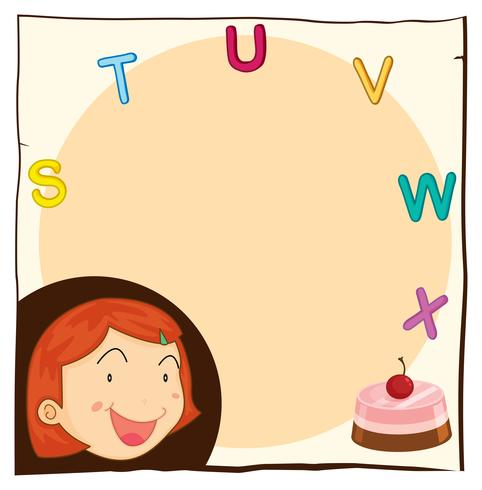 Paper template with happy girl and cake