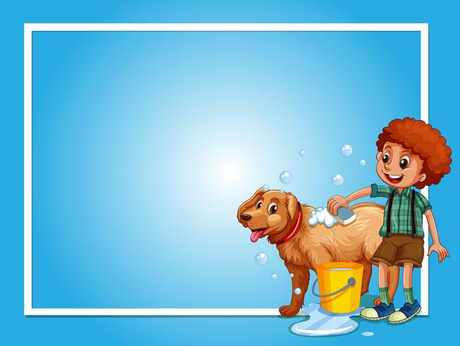 Modello di confine con cane lavaggio ragazzo