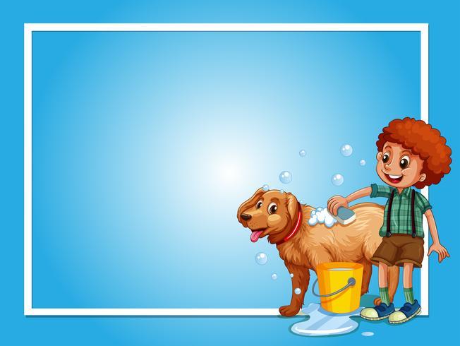 Border template with boy washing dog