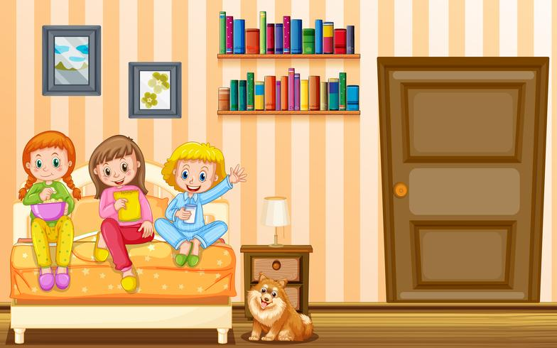 Drei Mädchen und Schoßhund im Schlafzimmer
