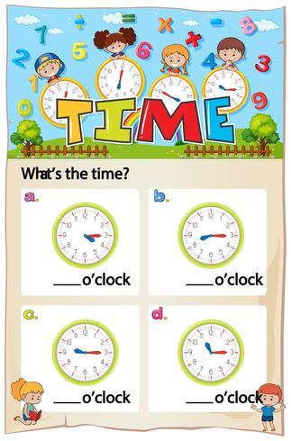 Modèle de feuille de travail pour indiquer l'heure