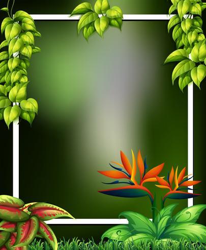 Bosque salvaje con flores plantilla verde