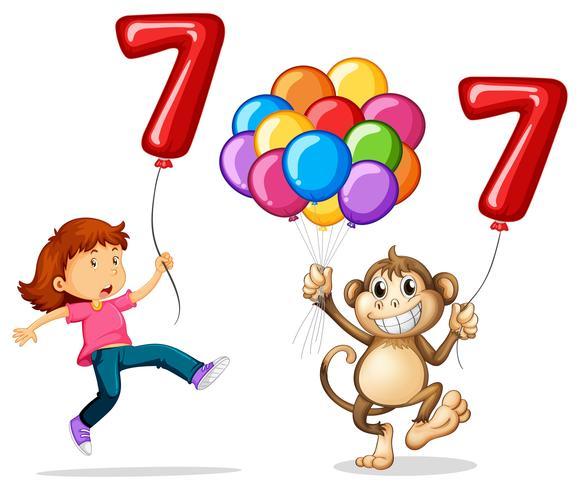 Ragazza e scimmia con palloncino numero sette