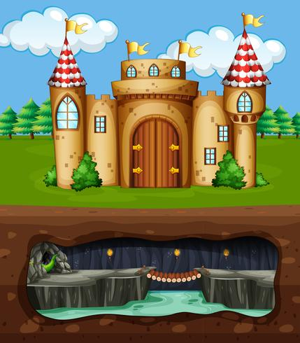 Un castillo y una cueva de dragones subterránea.