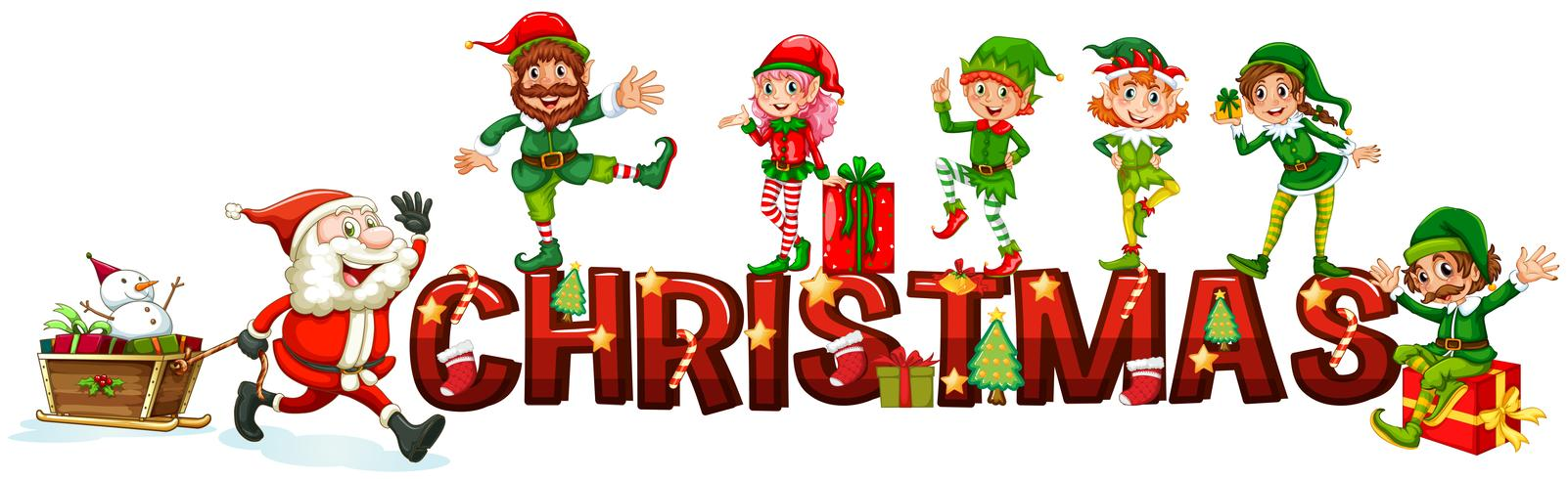 Cartel navideño con santa y elfos.