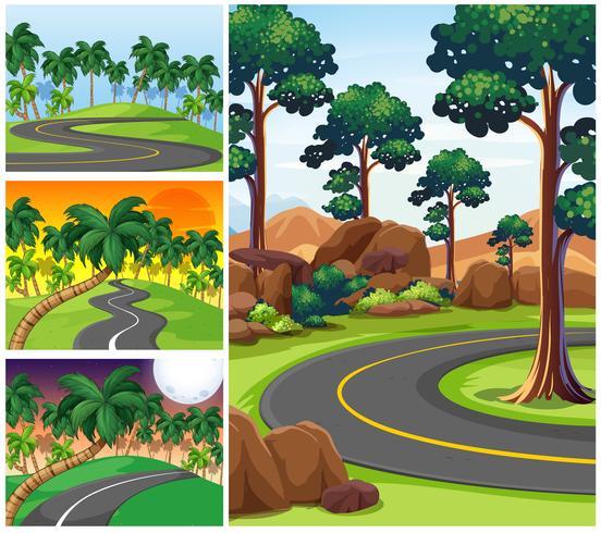 Cuatro escenas con caminos y bosque.