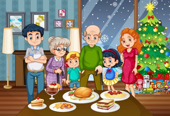 Uma grande família na mesa de jantar