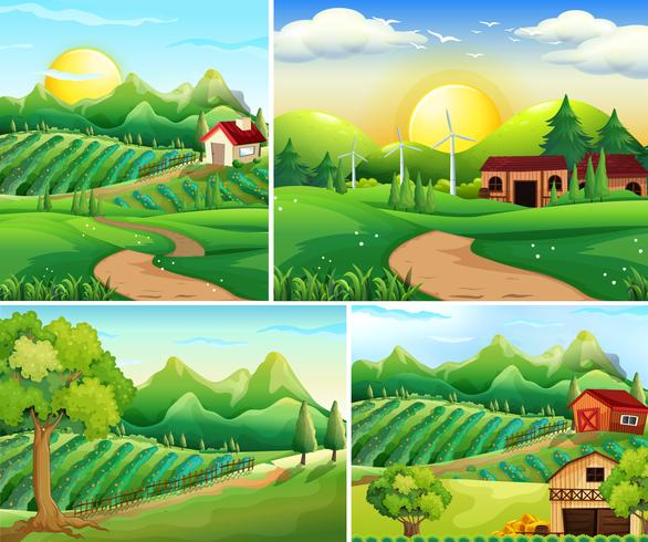 Four background scenes of farmyard vector
