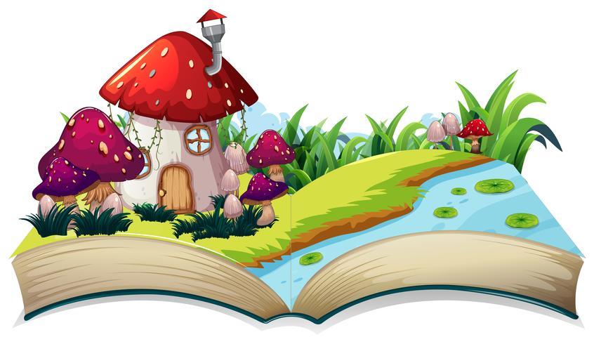 Une maison de conte de fées sur un livre ouvert