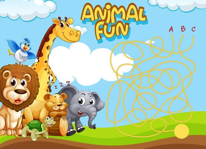 Modello di gioco di puzzle di labirinto di animali selvatici