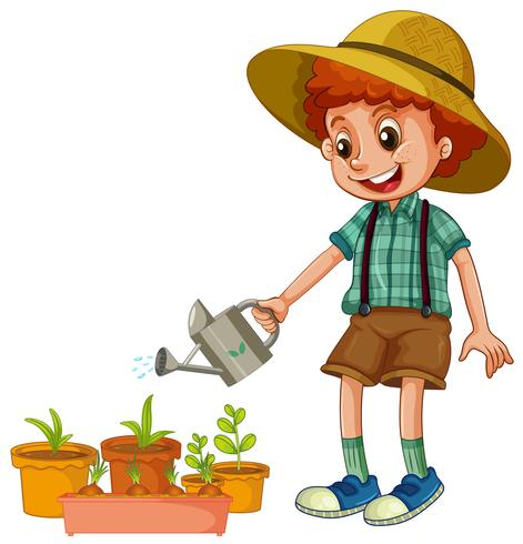 Um menino regando as plantas