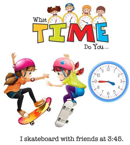 Meisjes spelen skateboard om 3:45 uur