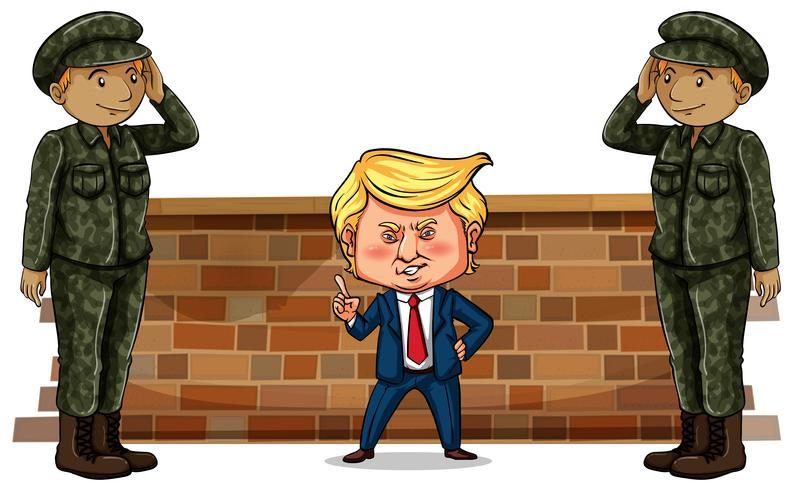 USA: s president Trump och två soldater