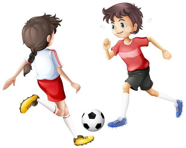 Jogadores de futebol no fundo branco
