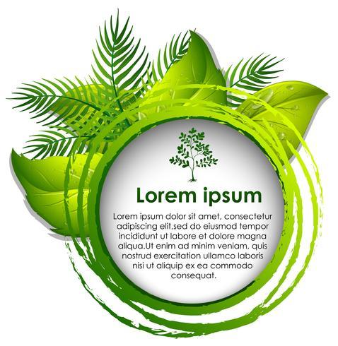 Modèle de bordure avec des feuilles vertes en arrière-plan
