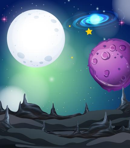 Cena de fundo com fullmoon e estrelas no espaço