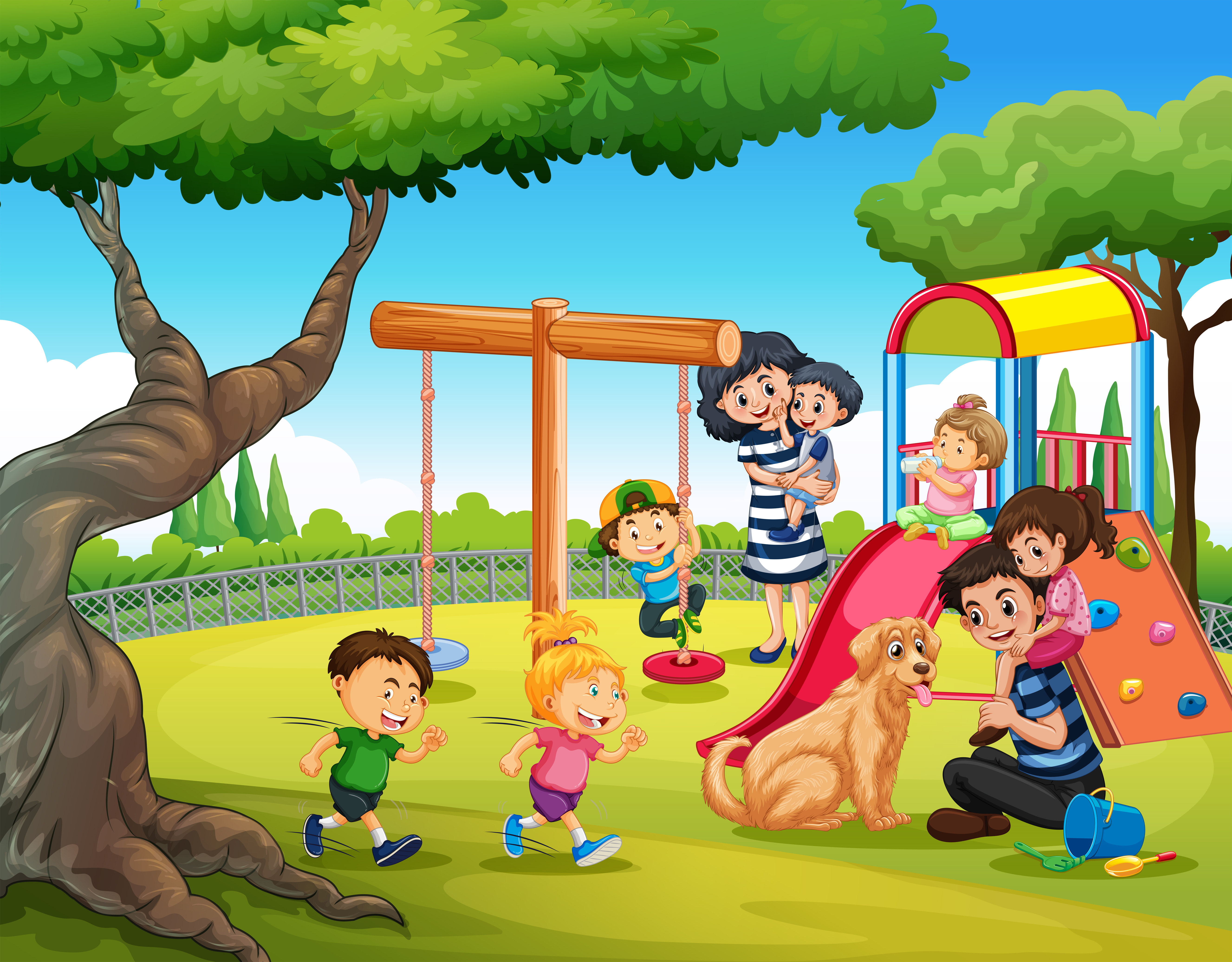 Children playing at playground - Download Free Vector Art ...