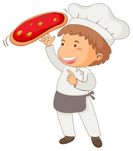 Italienischer Chef, der Pizza macht