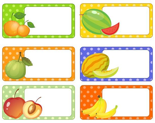 Diseño de etiquetas con frutas frescas. vector