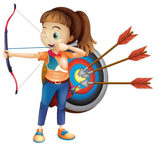 Una ragazza arciere con sfondo bianco