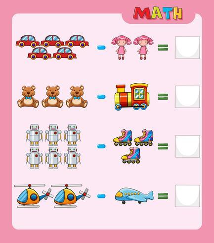 Math kalkylblad för subtraktion med bilder