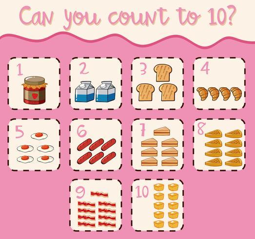 Zehn bis zehn mit verschiedenen Speisen