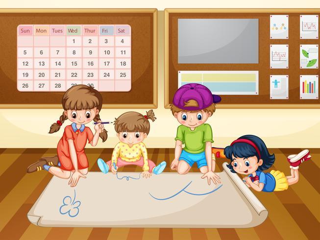 Crianças, desenho, papel, sala aula
