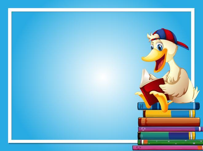 Modello di cornice con libro di lettura di anatra
