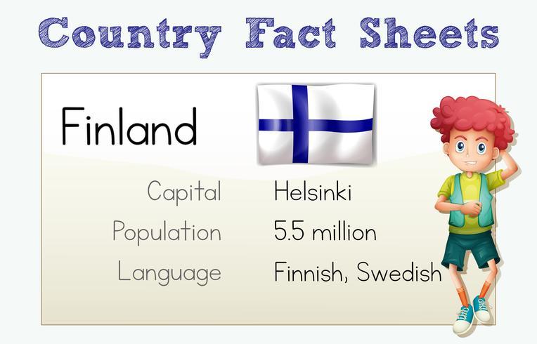 Finlands land faktablad med pojke och flagga