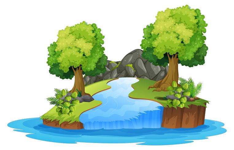 Ensemble de paysage fluvial isolé