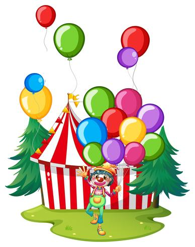 Circus clown with colorful balloons