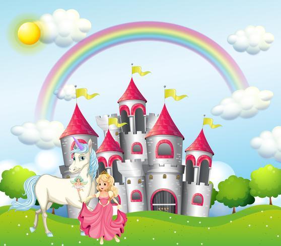 Hintergrundszene mit Prinzessin und Einhorn am rosa Schloss vektor