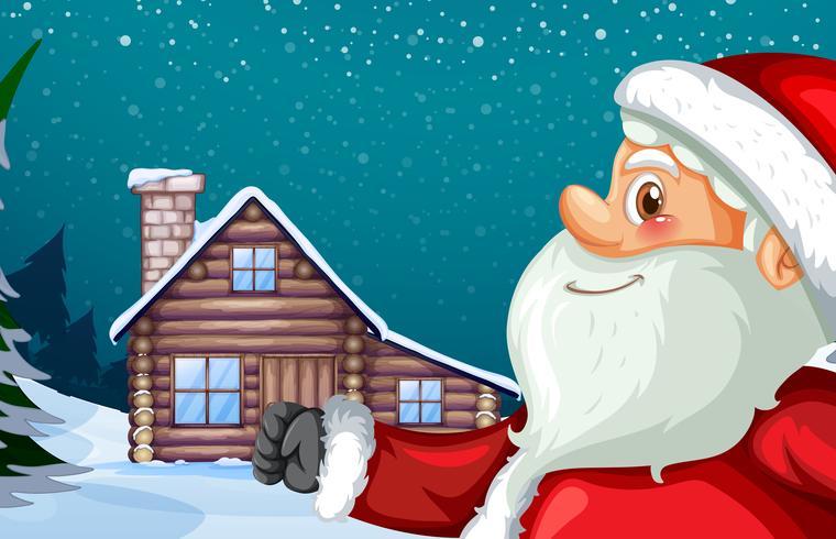 Kerstman en winter hut achtergrond