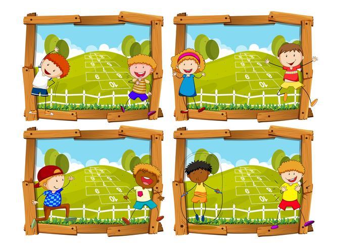 Quatro quadros com crianças e amarelinha