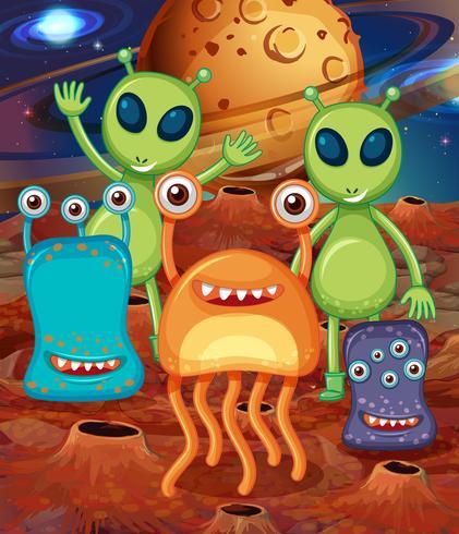 Alien avec des amis sur Mars