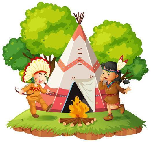 Nativos americanos cerca de tipi