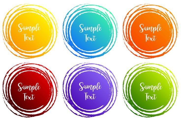 Diseños de etiquetas con formas redondas en diferentes colores. vector