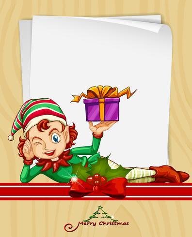 Cartão de Natal com elf e presente