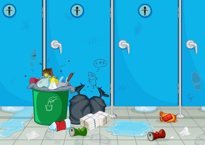 En smutsig manlig offentlig toalett