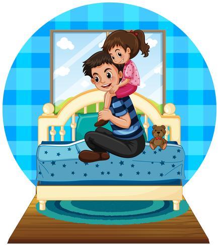 Niña y padre en dormitorio vector