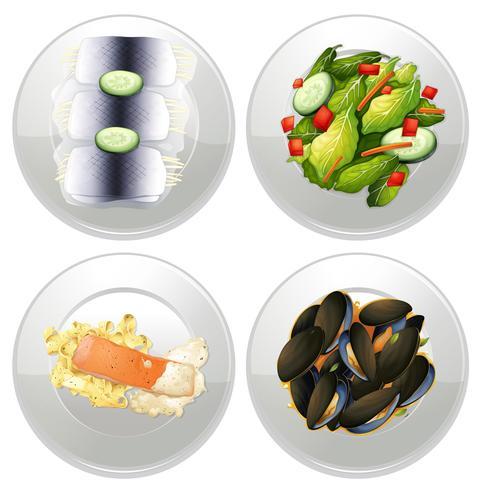Un menú conjunto saludable sobre fondo blanco